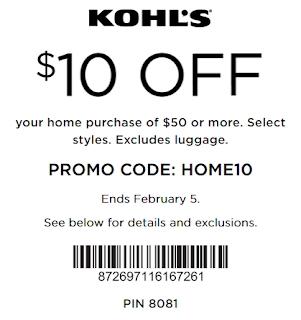 Kohls coupon $10 off $50 Home purchase