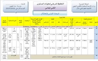 التخطيط المرحلي الأول والثاني للمستوى الثاني وفق المنهاج الجديد