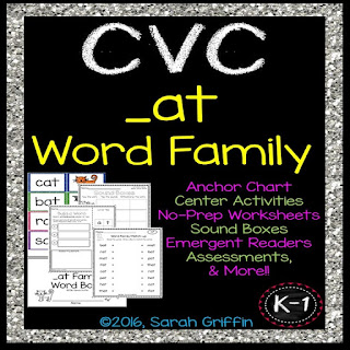 https://www.teacherspayteachers.com/Product/CVC-at-Word-Family-Packet-565723
