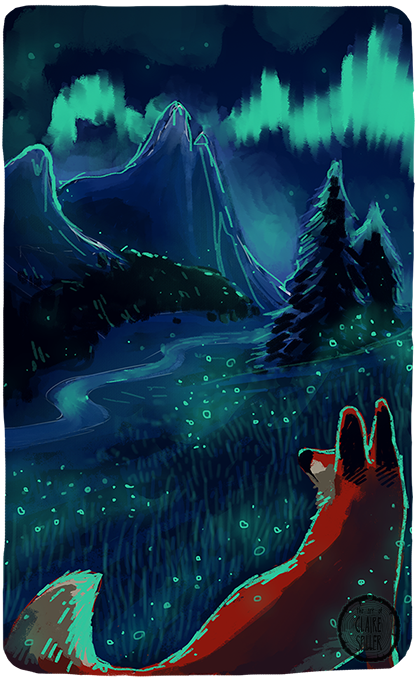 Digital speedpainting of a fox in a valley with aurora