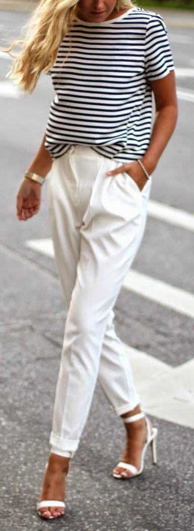 summer outfit idea: top + white pants