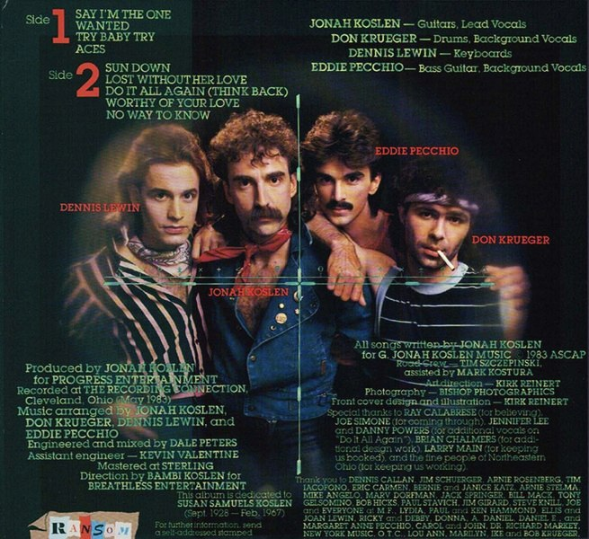 JONAH KOSLEN & THE HEROES - Aces (1983) back