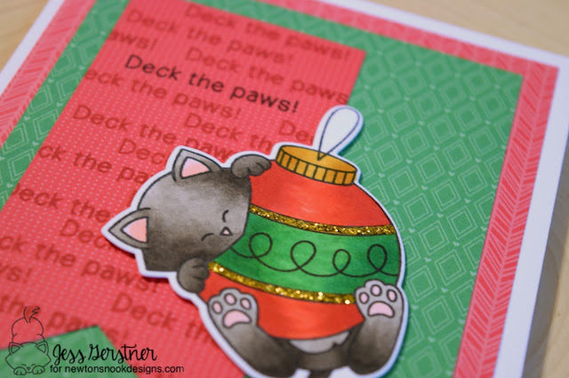 Cat Christmas Card by Jess Gerstner for Newton's Nook Designs