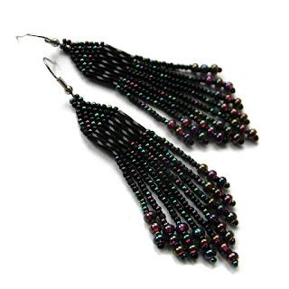 Черные серьги из бисера серьги с бахромой готика украшения подарок девушке