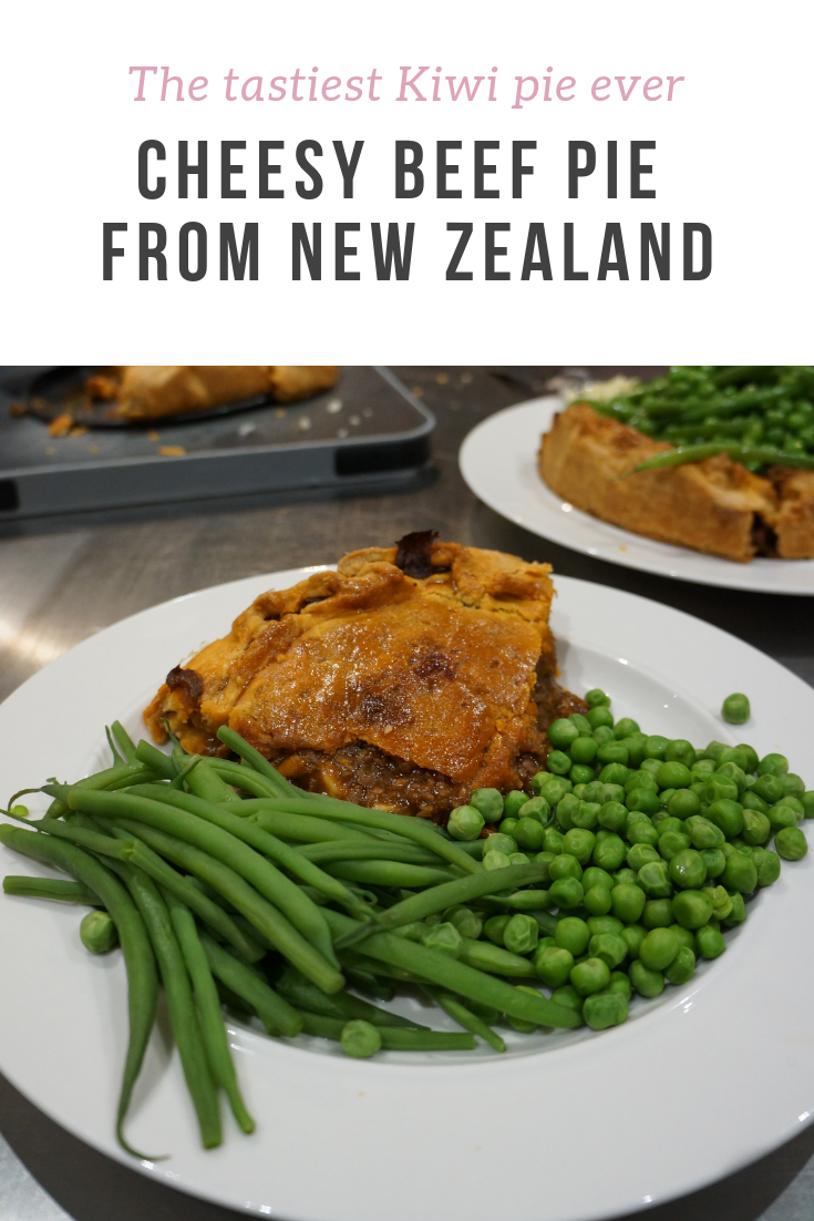"This ""Kiwi"" traditional beef mince-cheddar pie from New Zealand is seriously tasty - and easy to make too. A big family favourite that kids will love too!"