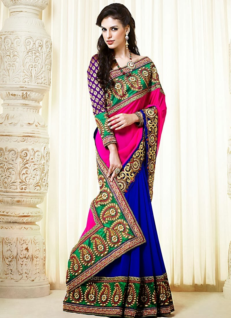 Bollywood Sarees Navels: Bollywood Style Designer Embroidery Sarees