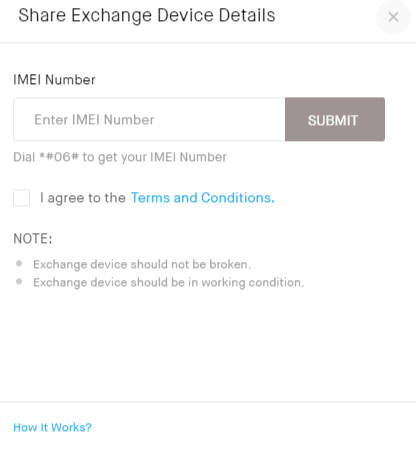Check supported mobile for Snapdeal exchange with IMEI