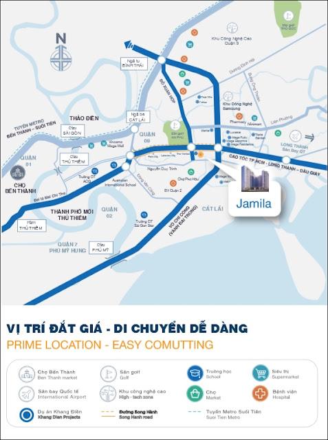 Vị trí căn hộ Jamila Khang Điền Quận 9