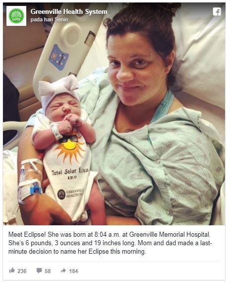 """Viral Nama """" Eclipse"""" untuk Bayi yang Lahir di Hari Kejadian Gerhana Langka di AS"""