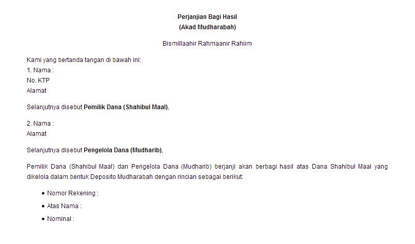 Contoh Surat Perjanjian Bagi Hasil Deposito Mudharabah Contoh Surat