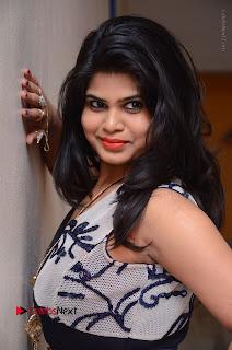 Telugu Actress Alekhya Stills in Blue Long Dress at Plus One ( 1) Audio Launch  0063.jpg