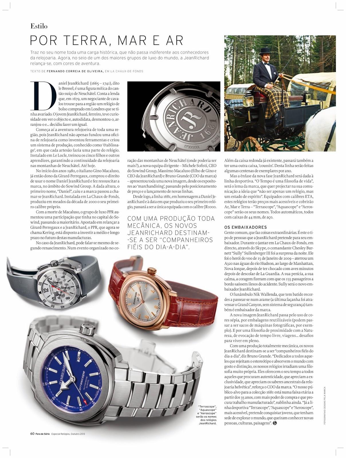 43ffe0de66c Relógios JeanRichard relança-se - reportagem no Fora de Série Especial  Relógios 2013