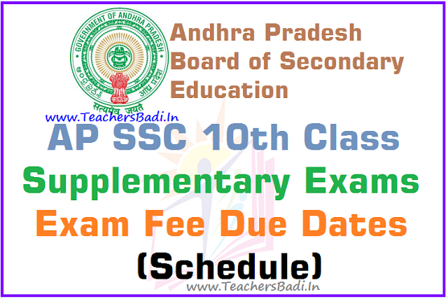 AP SSC,Supplementary Exams,Exams fee,due dates, schedule