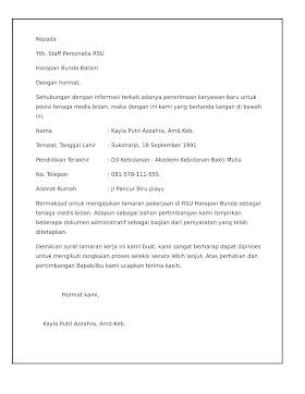 Contoh Surat Lamaran Kerja Dinas Kesehatan Kota Surabaya