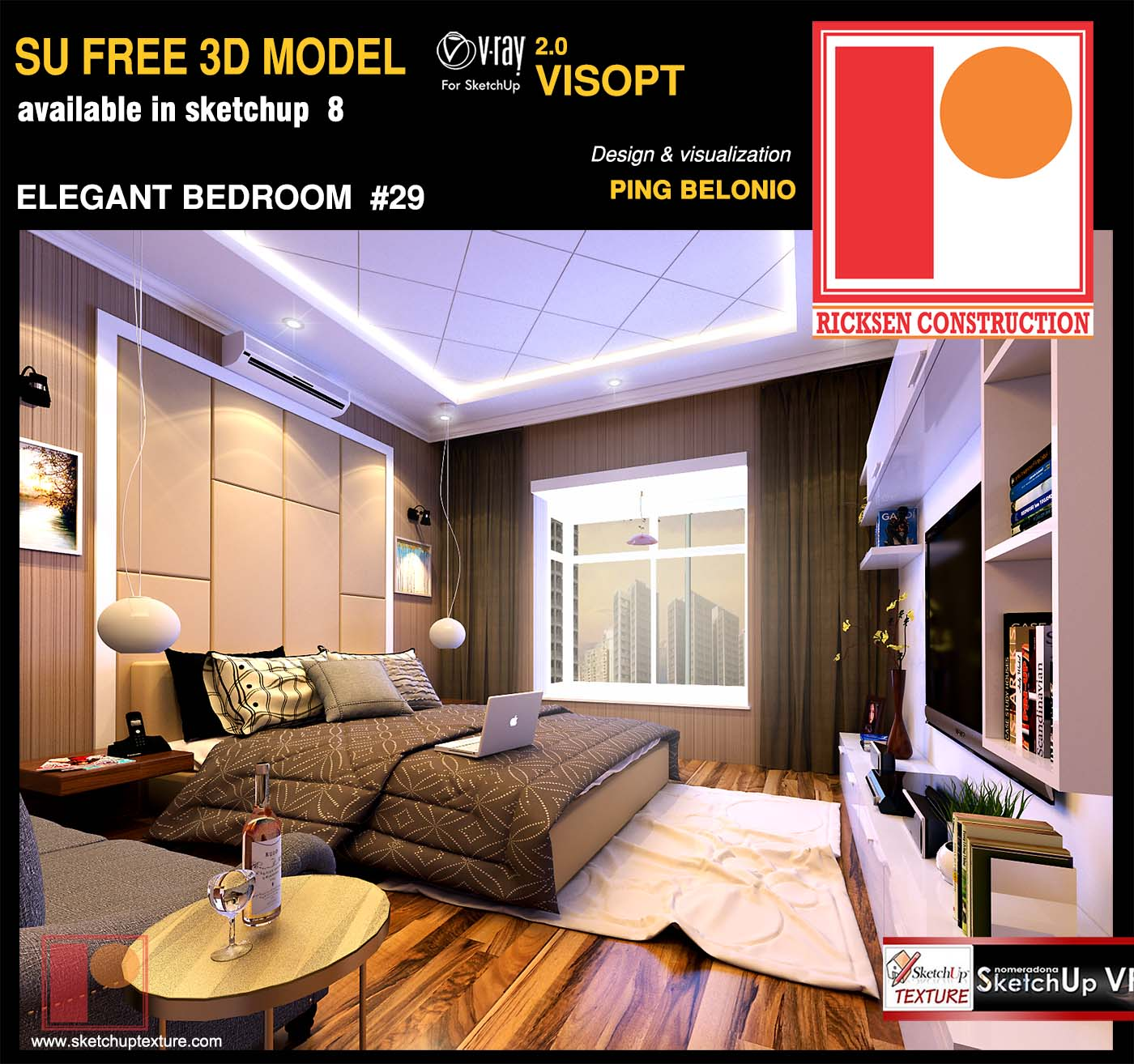 free Sketchup Model elegant Bedroom by Ping Belonio vray interior visopt