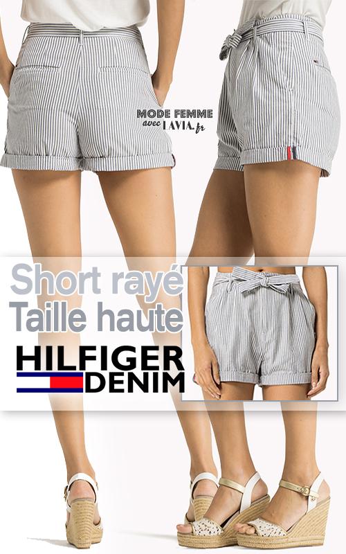 Short femme taille haute en coton rayé bleu et blanc HILFIGER DENIM
