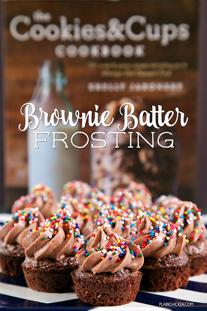 Brownie Batter Frosting - only 4 ingredients to the most AMAZING frosting! Great on brownie bites, cupcakes, cakes or a spoon!! Ready in about 5 minutes. Can refrigerate or freeze for later!