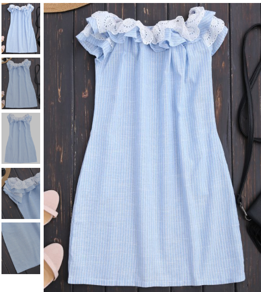 Off Shoulder Ruffle Striped Dress With Pockets - Light Blue