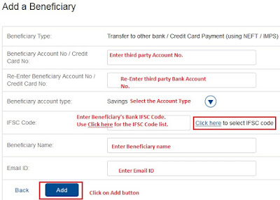 Fill Beneficiary Details for NEFT Payment Transfer