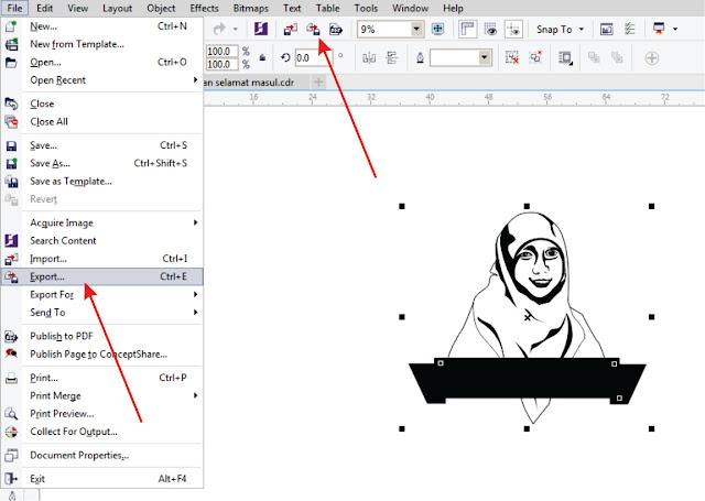 'Dasar Corel Draw' Cara merubah CDR menjadi JPEG/JPG