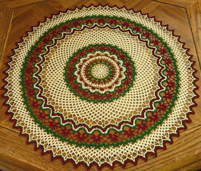 Holiday Red Flower Crochet Lace 21 Inch Table Topper By Ruth Sandra Sperling of RSS Designs In Fiber