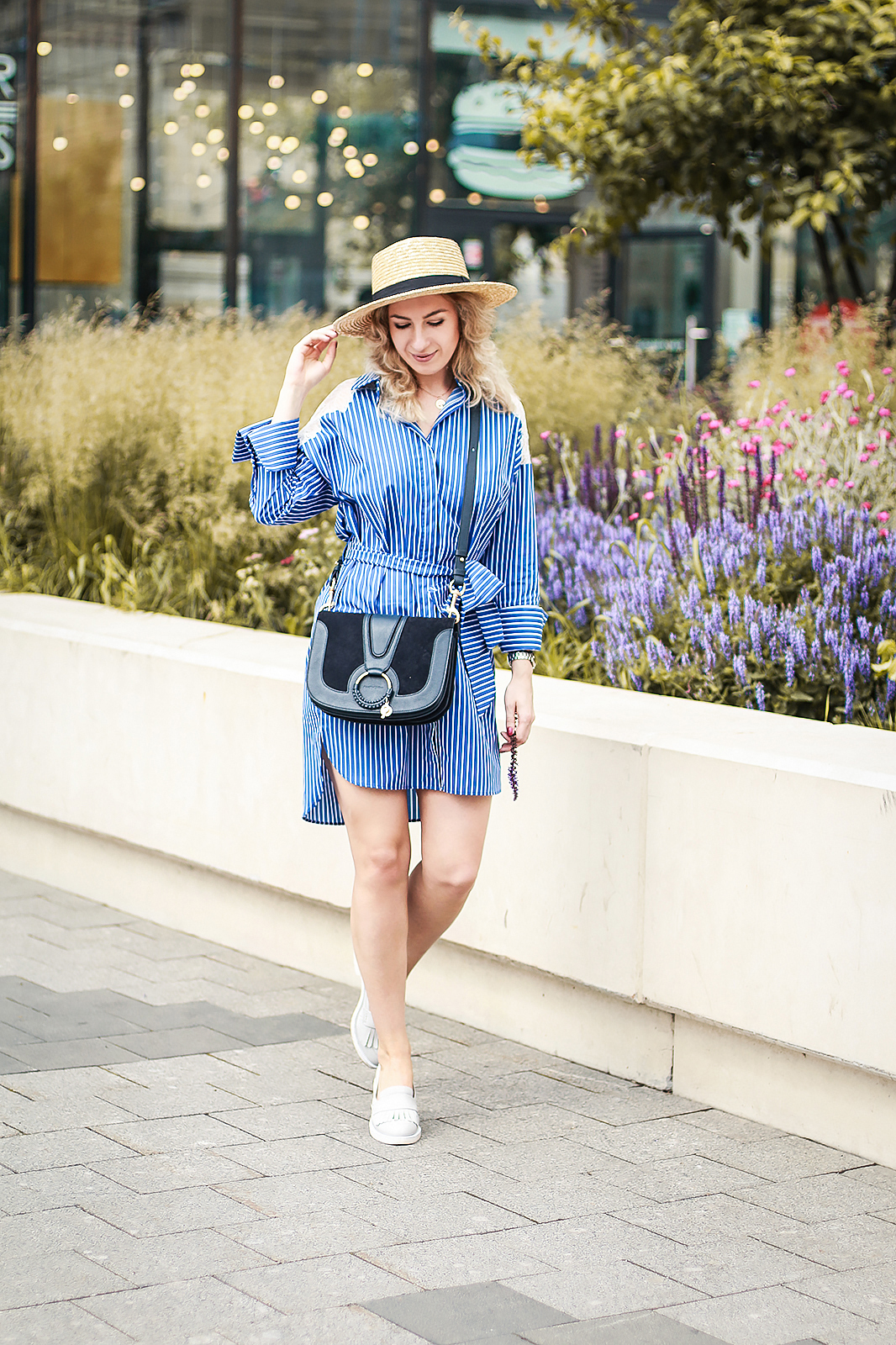 Rita_maslova_zara_blue_striped_shirt_dress_summer_outfit_hat_boater_see_by_chloe_hana