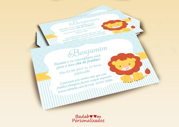 Badaboom Personalizados Convite Chá De Bebê Leãozinho