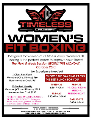 Women's Fit Boxing - Next 5 week sessions begins Monday, Oct 23