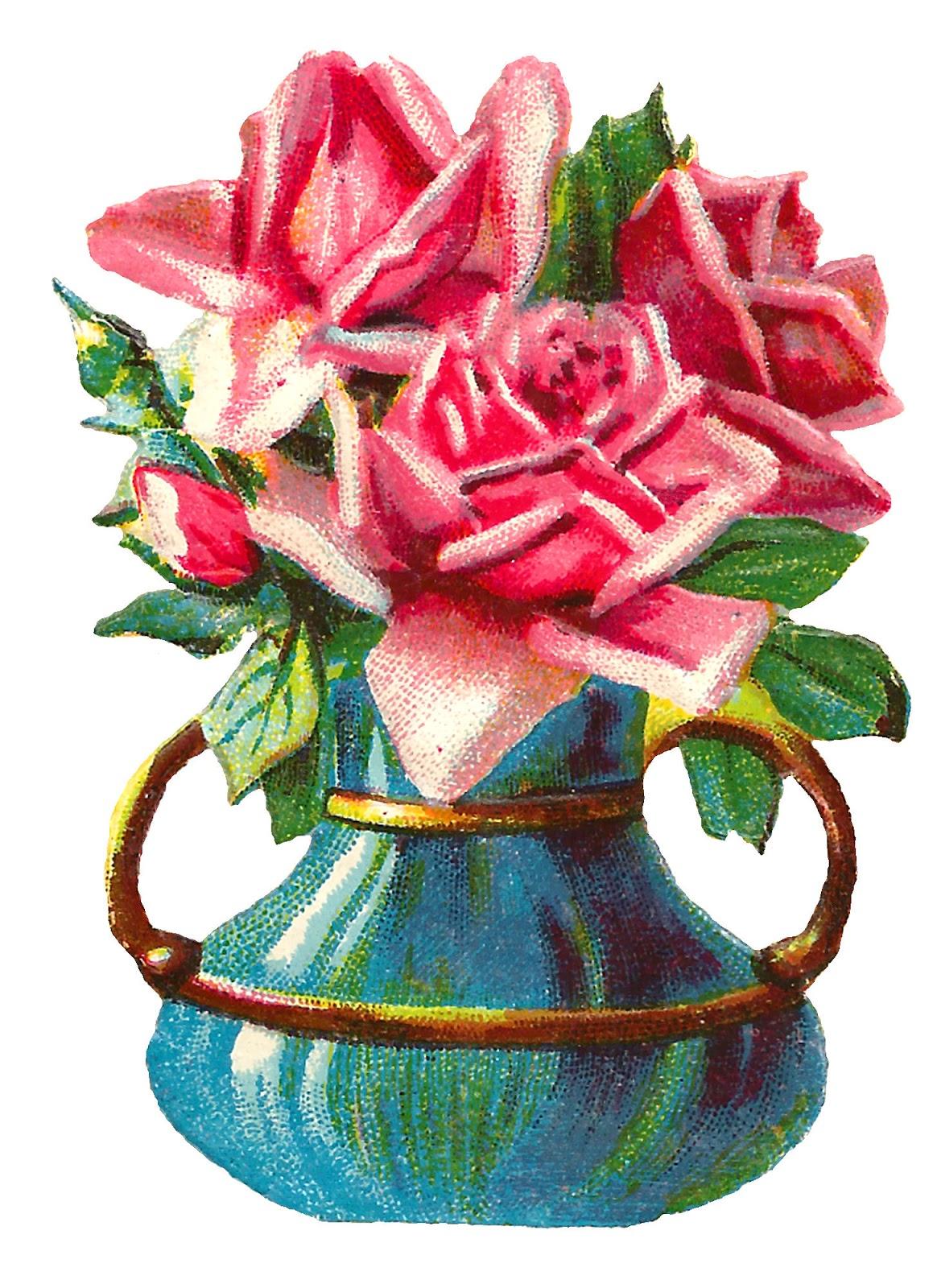 Antique Images: Shabby Chic Pink Rose Clip Art Flower Vase ...