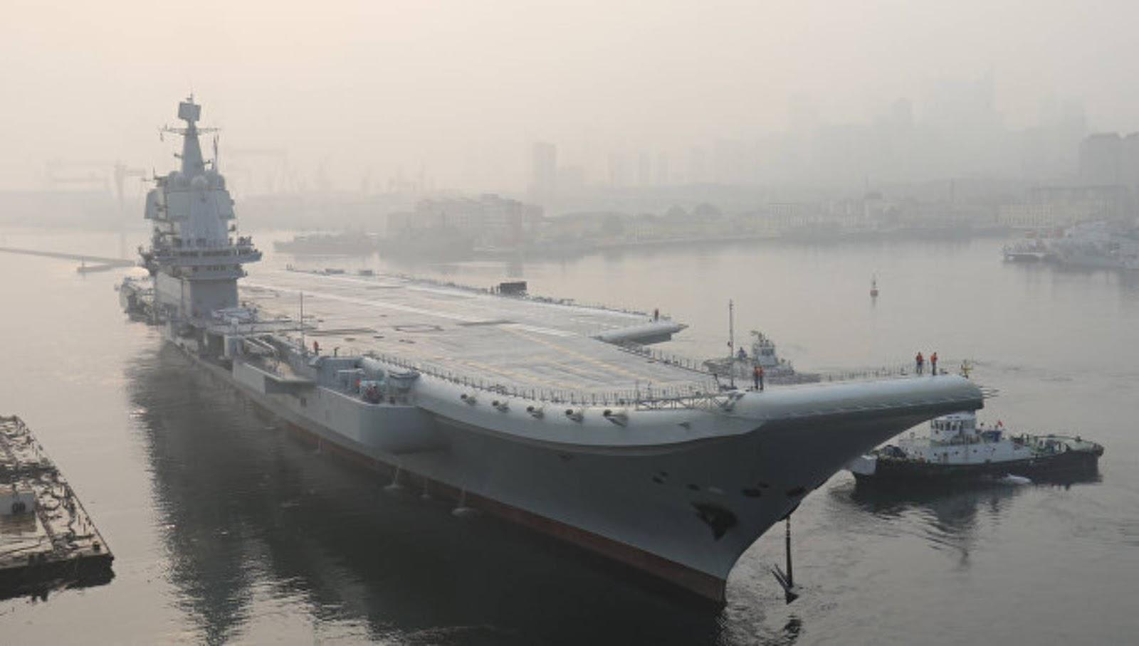 China sukses melakukan uji coba lajutan kapal Induk 001A