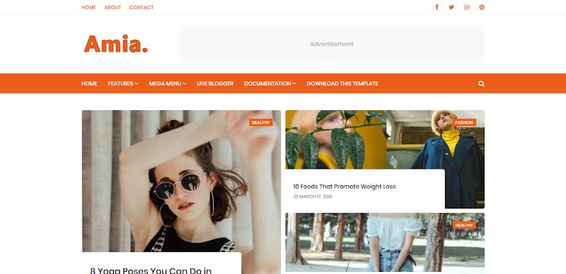 Amia Free Blogger Template