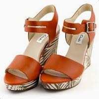 Sandale Clarks Orleans Jazz caramizii, din piele naturala, cu toc de 10 cm (Clarks)