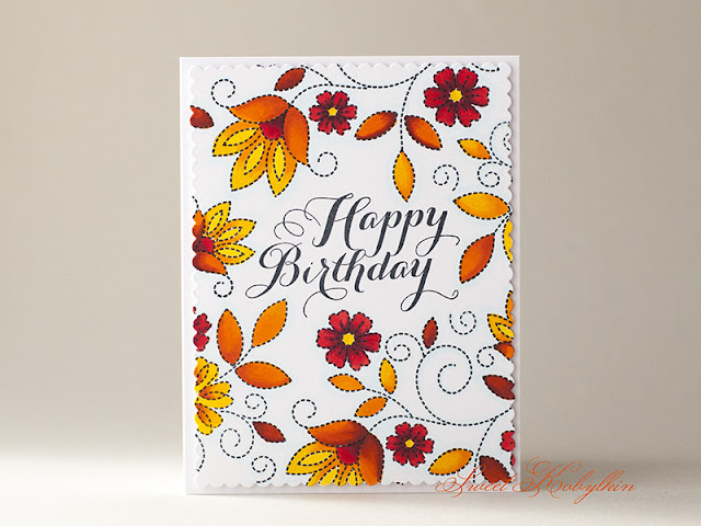 Birthday Card with Stitches & Swirls from Papertrey Ink by Sweet Kobylkin