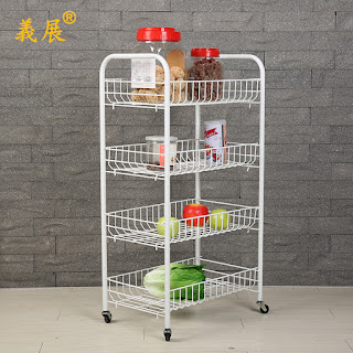 4 Tier Storage Cart with Casters Kitchen Rack Trolleys Powder Coated with Tyre