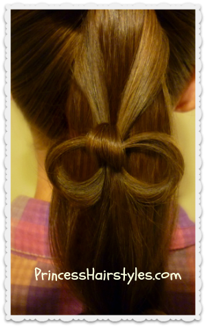 cute hair bow in a ponytail video tutorial