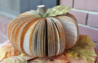 recycled book pumpkin halloween decorations