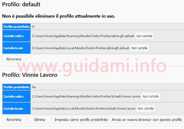 Firefox pagina gestione profili utente