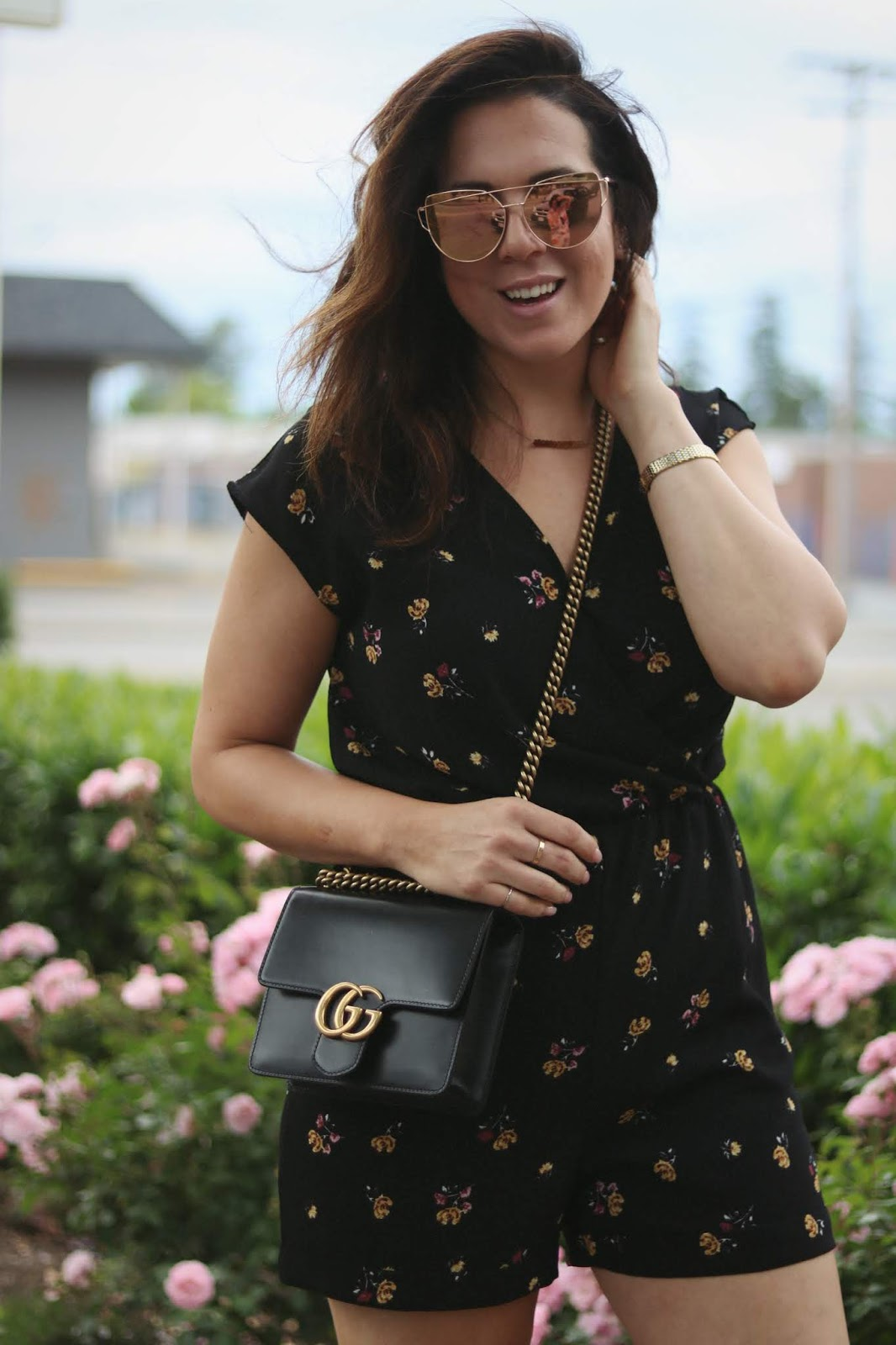 Floral romper outfit idea le chateau summer look flash frame sunglasses blush vans outfit vancouver fashion blogger aleesha harris