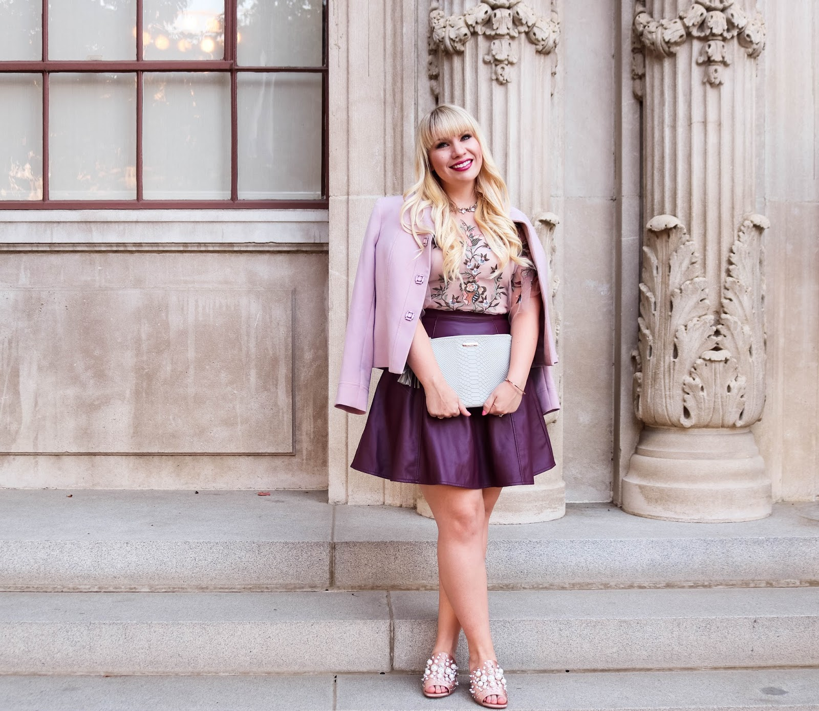 Pink and Plum Outfit Idea for Fall