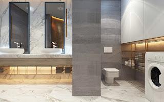 แบบห้องน้ำสีเทา