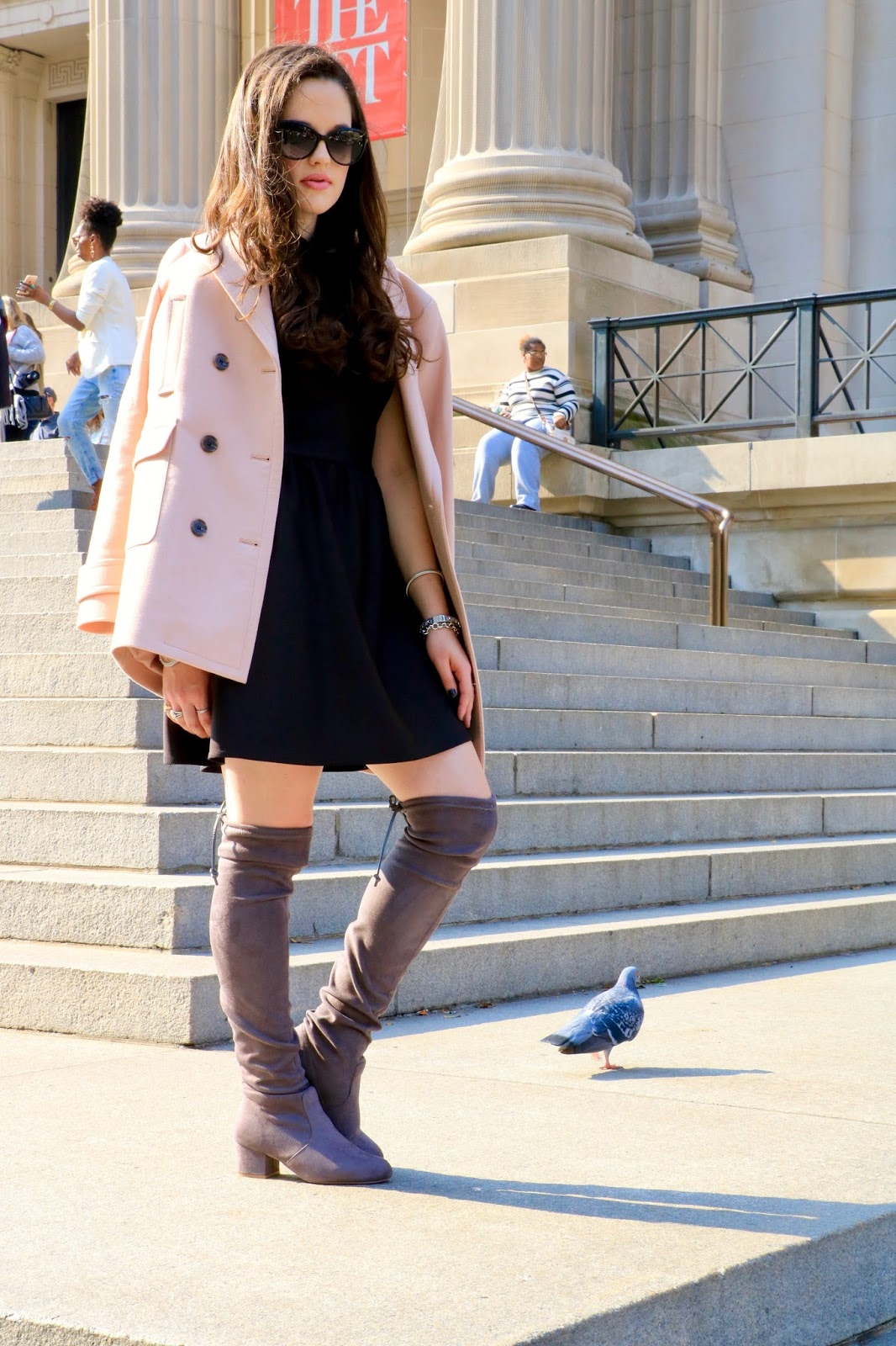 fashion blogger pink peacoat