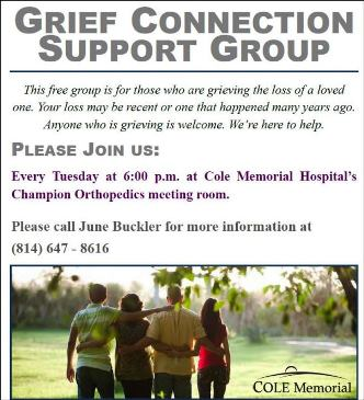 Every Tuesday Grief Connedtion Support Group