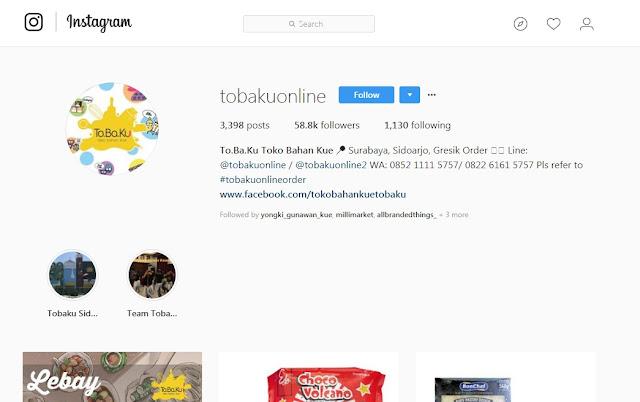 To.Ba.Ku - Toko Bahan Kue Online Instagram