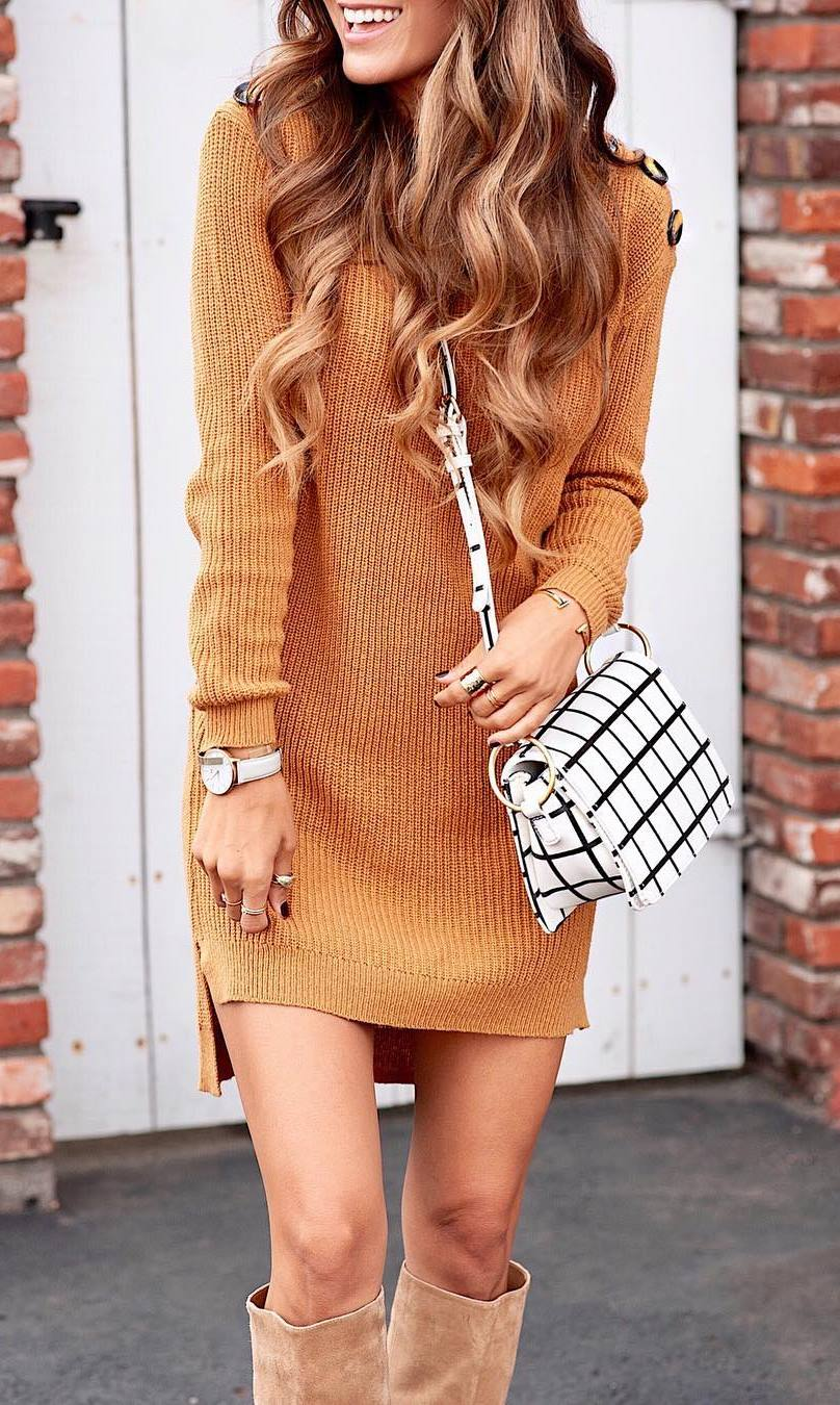 simple outfit idea to copy this season / brown sweater dress + plaid crossbody bag + over knee boots