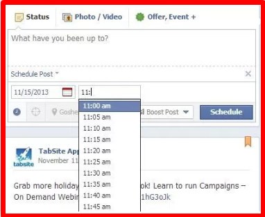 how to schedule a post on facebook app