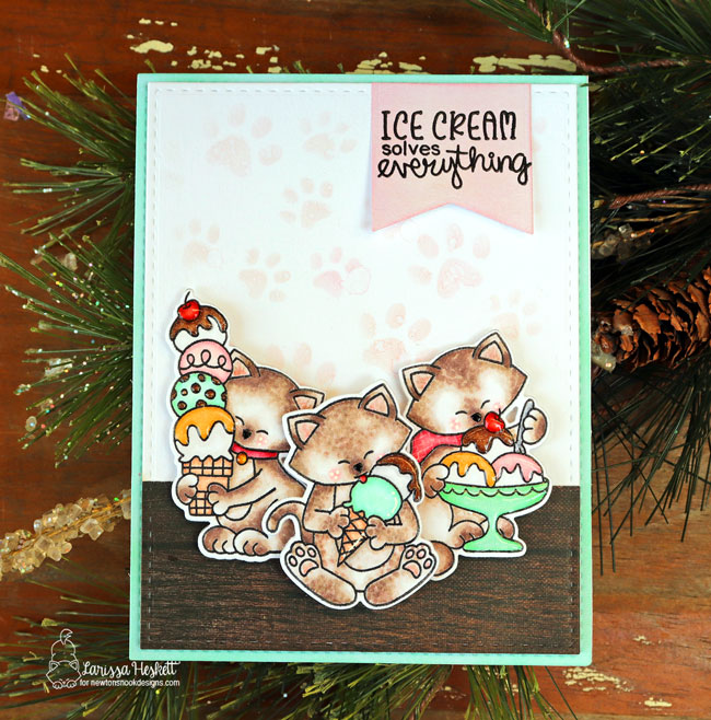 Ice cream and kitty card by Larissa Heskett | Newton's Summer Treats Stamp Set and Pawprints Stencil by Newton's Nook Designs #newtonsnook #handmade