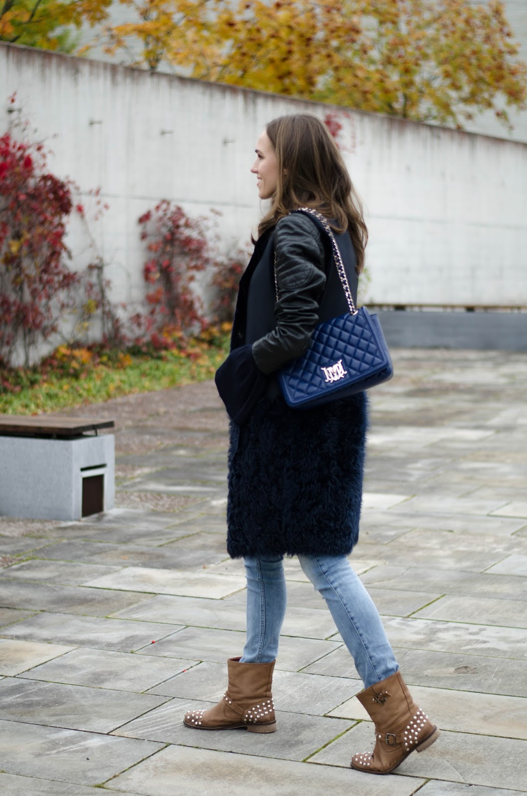 shearling vest ankle boots outfit