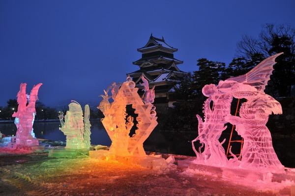 Ice Sculpture Festival at Matsumoto Catsle, Nagano Pref.