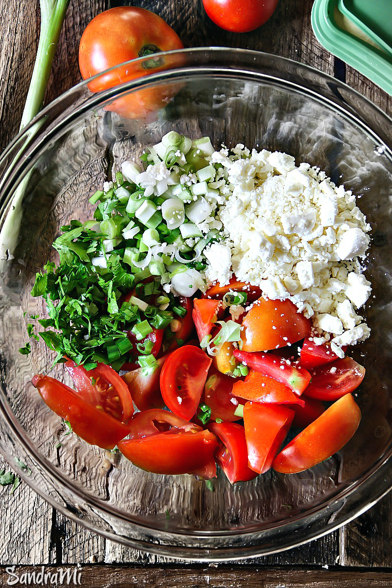Tomato Feta Salad #recipe --- for more recipes and salad ideas, visit my blog Sandra's Easy Cooking http://www.sandraseasycooking.com/
