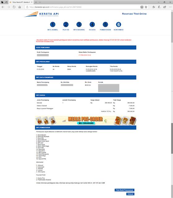 Tampilan Resume Reservasi Tiket Online Kereta Api